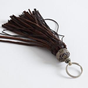 Schlüsselanhänger Leder-Pompon-0