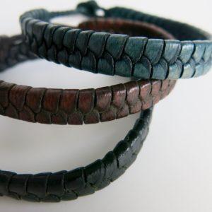 Armband Flechtleder Herren - flach-0