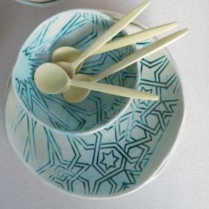handgemachte Keramik Schale mit marokkanischem Fliesen-Muster-0