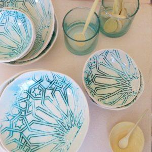 handgemachter Keramik Teller mit marokkanischem Fliesen-Muster-2444