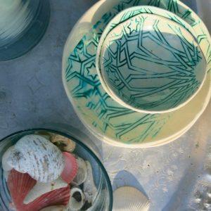 handgemachte Keramik Schale mit marokkanischem Fliesen-Muster-1026