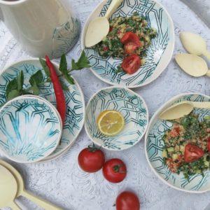 handgemachter Keramik Teller mit marokkanischem Fliesen-Muster-2438