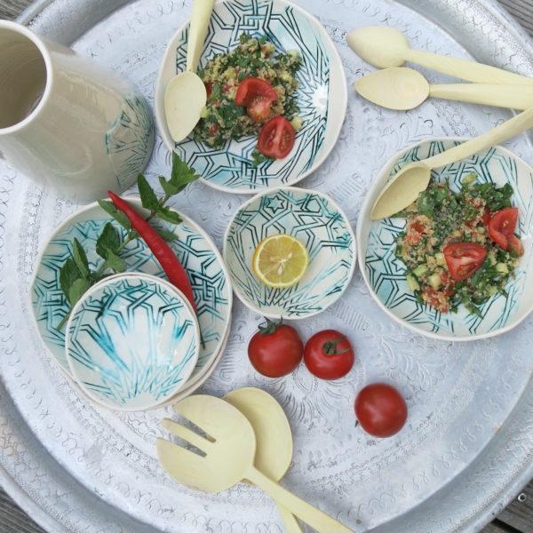 handgemachter Keramik Teller mit marokkanischem Fliesen-Muster-0