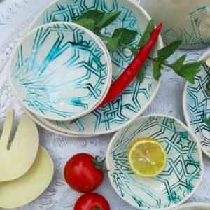 handgemachte Keramik Schale mit marokkanischem Fliesen-Muster-308