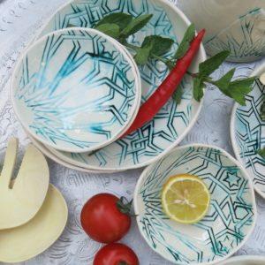 handgemachter Keramik Teller mit marokkanischem Fliesen-Muster-2439