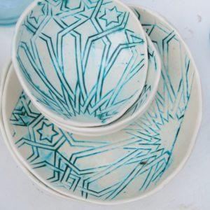 handgemachte Keramik Schale mit marokkanischem Fliesen-Muster-304