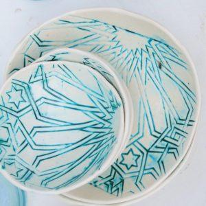handgemachter Keramik Teller mit marokkanischem Fliesen-Muster-2440