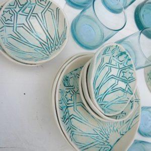 handgemachte Keramik Schale mit marokkanischem Fliesen-Muster-305