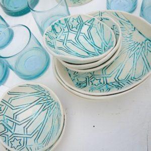 handgemachter Keramik Teller mit marokkanischem Fliesen-Muster-2441