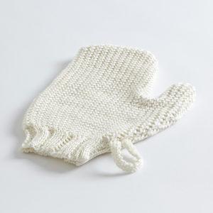 handgestrickter Peeling Handschuh Leinen-0
