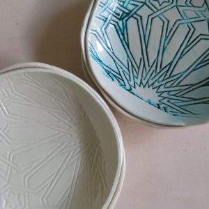 handgemachte Keramik Schale mit marokkanischem Fliesen-Muster-307