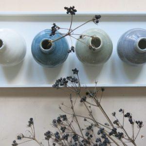 kleine Steingut Vase mit 'craquele' Glasur-1056