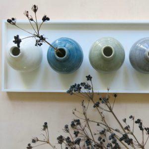kleine Steingut Vase mit 'craquele' Glasur-1057