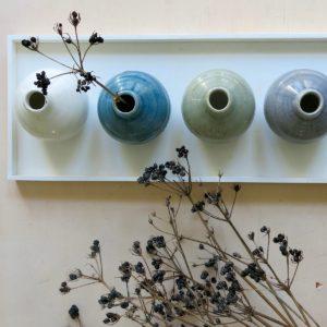 kleine Steingut Vase mit 'craquele' Glasur-1058