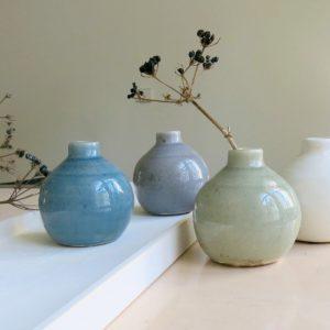 kleine Steingut Vase mit 'craquele' Glasur-1061