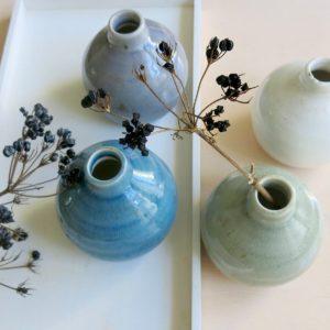 kleine Steingut Vase mit 'craquele' Glasur-1062