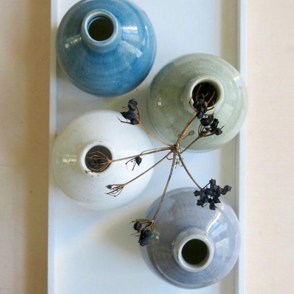 kleine Steingut Vase mit 'craquele' Glasur-0