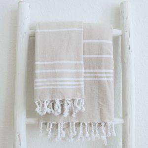 Baumwoll Hamamtuch - farbig mit weissen Streifen-2349