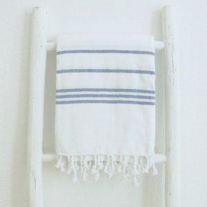 Baumwoll Hamamtuch - weiß mit farbigem Streifen-4287