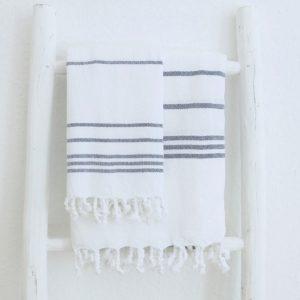 Baumwoll Hamamtuch - weiß mit farbigem Streifen-4283