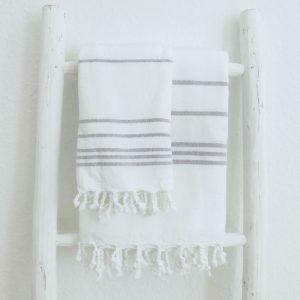 Baumwoll Hamamtuch - weiß mit farbigem Streifen-4284
