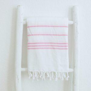 Baumwoll Hamamtuch - weiß mit farbigem Streifen-4289