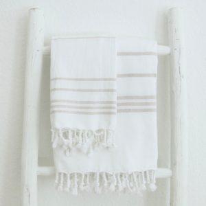 Baumwoll Hamamtuch - weiß mit farbigem Streifen-4285