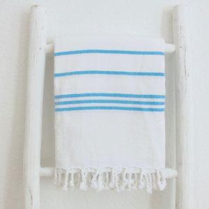 Baumwoll Hamamtuch - weiß mit farbigem Streifen-4288