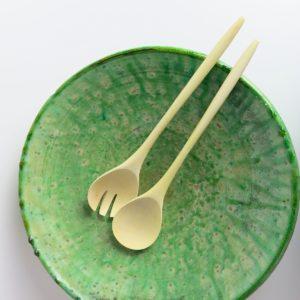 grüne Keramik Servierplatte - besonderer Grünton-2892