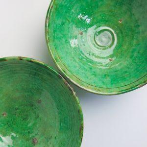grüne Keramik Servierschale - besonderer Grünton-4006