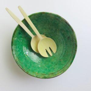 grüne Keramik Servierschale - besonderer Grünton-4001