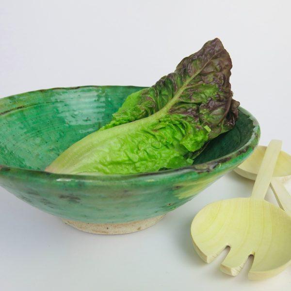 grüne Keramik Servierschale - besonderer Grünton-0