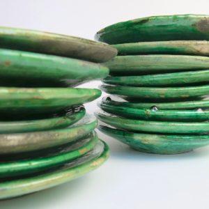 grüne Keramik Teller - besonderer Grünton-4018