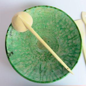 grüne Keramik Servierplatte - besonderer Grünton-2891