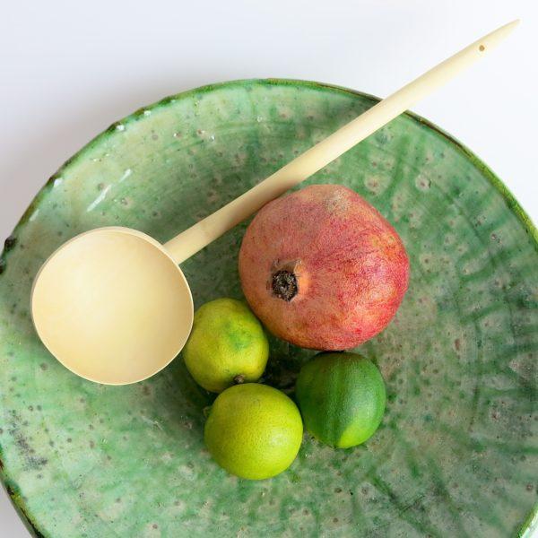 grüne Keramik Servierplatte - besonderer Grünton-0