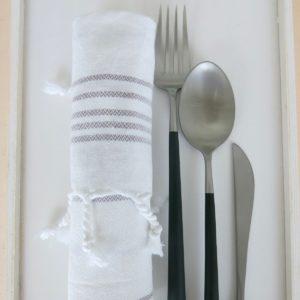 Baumwoll Gästetuch - weiß mit farbigen Streifen-0