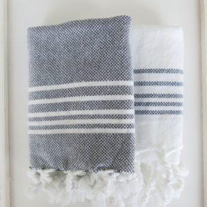 Baumwoll Gästetuch - farbig mit weissen Streifen-4302