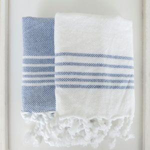 Baumwoll Gästetuch - weiß mit farbigen Streifen-4297