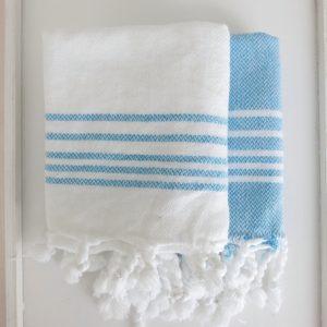 Baumwoll Gästetuch - weiß mit farbigen Streifen-4299