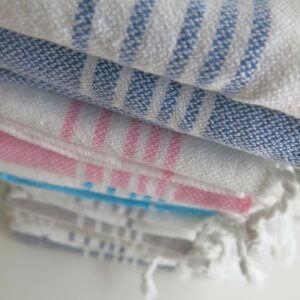Baumwoll Gästetuch - weiß mit farbigen Streifen-4301