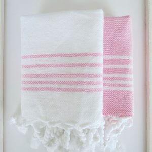 Baumwoll Gästetuch - weiß mit farbigen Streifen-4298