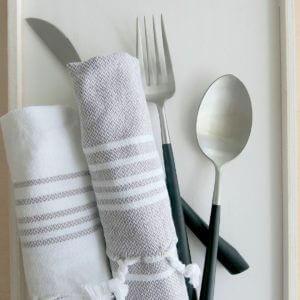 Baumwoll Gästetuch - weiß mit farbigen Streifen-4294