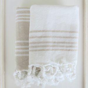Baumwoll Gästetuch - weiß mit farbigen Streifen-4296