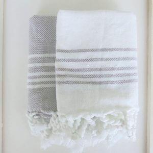 Baumwoll Gästetuch - weiß mit farbigen Streifen-4295