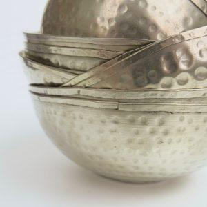 vintage Hamamschale Silber mit gehämmerter Oberfläche-3345