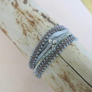 doppeltes Häkel-Armband mit Glasperlen-716