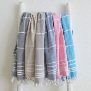 Baumwoll Hamamtuch - farbig mit weissen Streifen-0