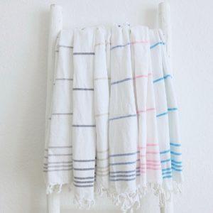 Baumwoll Hamamtuch - weiß mit farbigem Streifen-4286