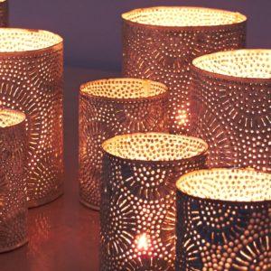 dekorative silber metall Teelichthalter - Marokko-2633