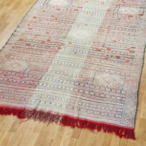 Kelim Teppich creme-rot pastell - Marokko-3058